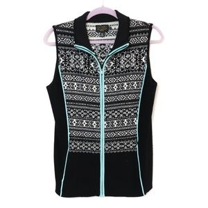 Icelandic | Printed Wool Vest Mint Piping M